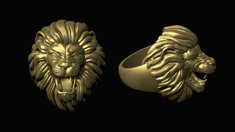 Furious Lion Head Ring 3D print model