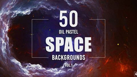 50 Oil Pastel Space Backgrounds - Vol. 1