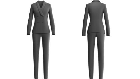 3D Female Suit - Lowpoly business suit