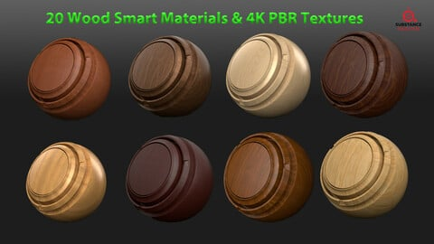 20 Wood Smart Materials & 4k PBR Texture-Vol 1