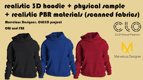 Realistic 3D Women's Hoodie + PBR materials + Physical Hoodie made of 100% Tencel micromodal (free gift ucc)