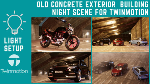 Old Concrete Building Exterior Night  Light Setup (  Time limited launch promo -50% off 15$ instead of 30$ )