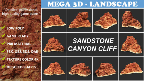 Low poly Sandstone Canyon Cliff Collection 210323