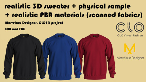 Realistic 3D Men's Sweatshirt + PBR materials + Physical Hoodie made of 100% Tencel micromodal (free gift ucc)