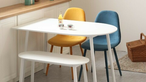 DD table semi-oval laminate white dining table (4 size)
