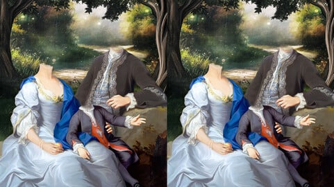 Family royal portrait digital painting template ( Family in The Forest )