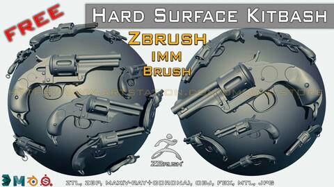 "+30 Hard Surface Kitbash+IMM Brush and 3D Model -ZTL-ZBP-MAX-FBX-OBJ-MTL "" FREE """
