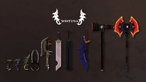pack of 10 low poly fantasy weapons
