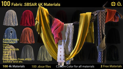100 Fabric Materials-sbsar-4k-custom colors+2 free Materials