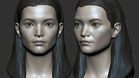 Woman Head Base mesh 3D model