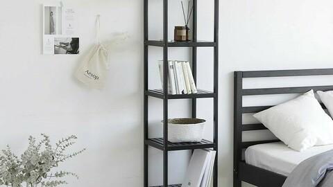 Pure wood white & black 5-stage shelf
