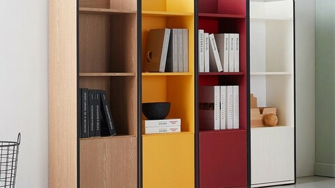 Ditto 3-tier gap cabinet (door type) bookcase
