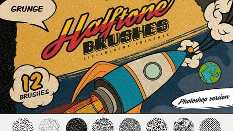 Halftone Grunge Photoshop Brushes