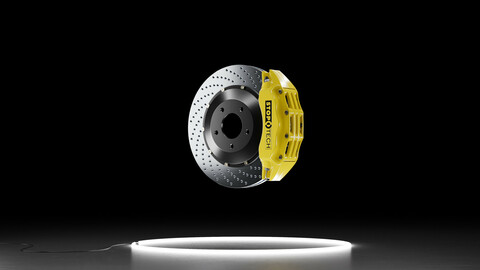 StopTech ST-60 brake system caliper and rotor disk 3D Model