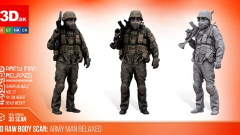 Cleaned 3D Body scan of Army Man Relaxed