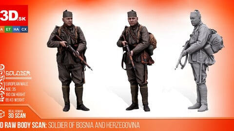Cleaned 3D Body scan of Soldier of Bosnia & Herzegovina