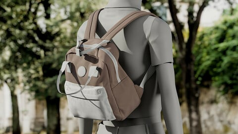 Realistic 3D model of Womens Backpack 4