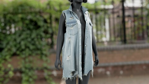 Realistic 3D model of Womens Jean Vest 1