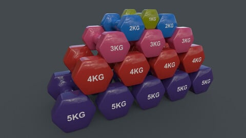 PBR 1-5KG Women Hexagon Dumbbell V1