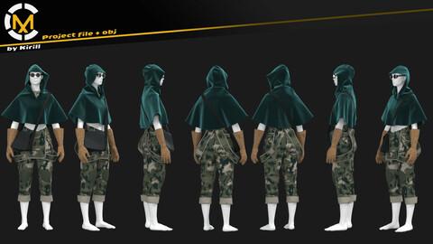Wanderer costume. Clo3D/Marvelous Project + Obj (A Pose)