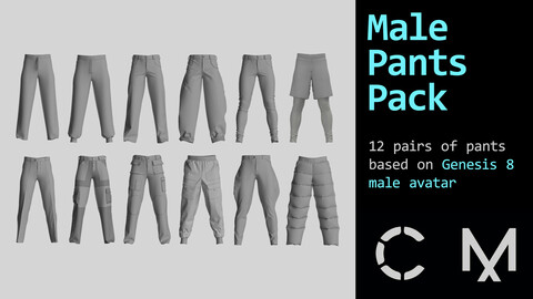 Male pants pack. MD / CLO 3D .zprj projects (Genesis 8 avatar)