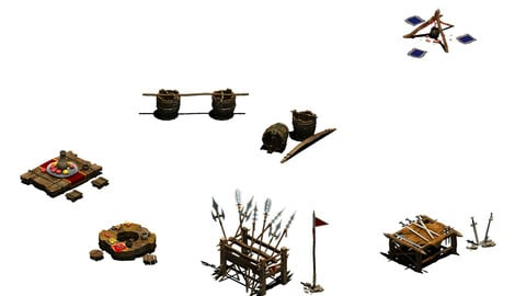 Bonfire - weapon rack - wooden barrels - tables and chairs
