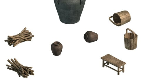 Water tank - wine altar - firewood - bucket