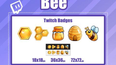 5x BEE TWITCH Sub Badges
