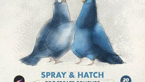 20 Procreate Brushes: Spray & Hatch + 10 Grunge Textures