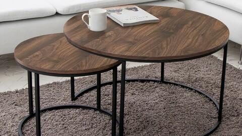 May Walnut Sofa Table Twin Set 2size