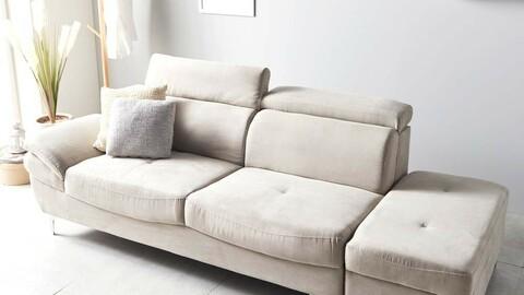 Entry Aquatex Fabric 3-seat sofa + stool