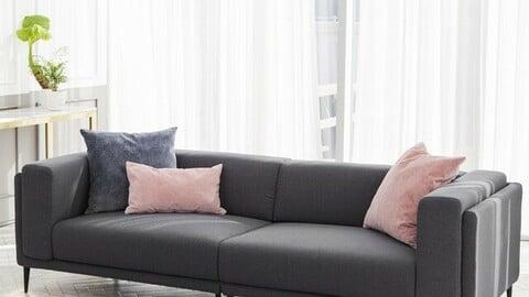 DK010 3.53 person full cover gray fabric water-repellent sofa