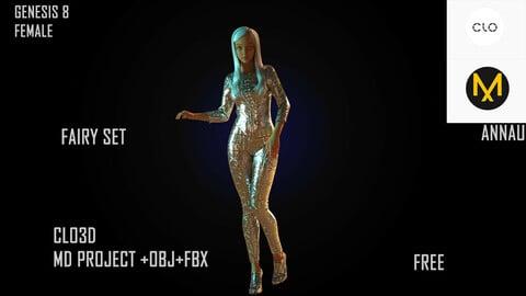 CLO3D, MARVELOUS DESIGNER PROJECT | +OBJ+FBX | FAIRY SET| GENESIS 8 FEMALE