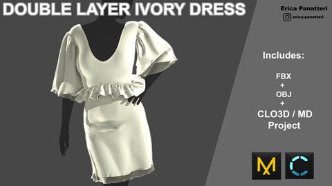 Double layer ivory dress