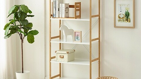 5-tier wide wooden storage shelf