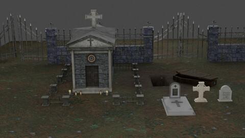 Christian Tomb Set 3D Model