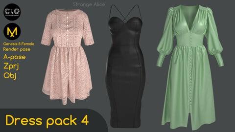 Dress pack 4. Clo3d, Marvelous Designer projects.