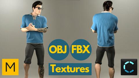 Marvelous Designer + Clo3d + OBJ + FBX + TEXTURES : Men's polo shirt & shorts