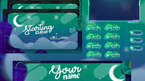 Green Moon scenery / Twitch package / Setup for your twitch