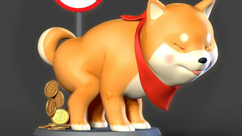 Shiba with cryptocurrency
