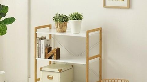 3-tier wide wooden storage shelf