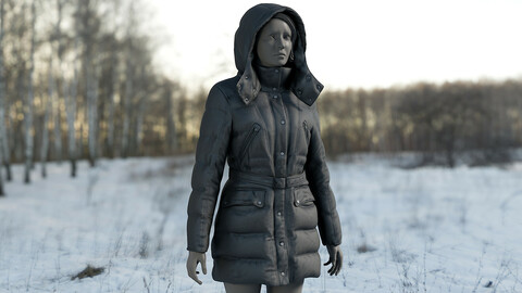 Realistic 3D model of Womens Down Jacket 6