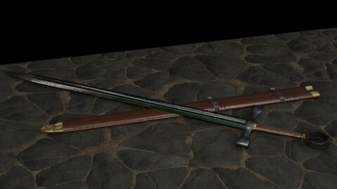 Low-poly Sword and Scabbard