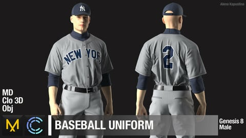 Baseball uniform / Marvelous Designer / Clo 3D project + obj