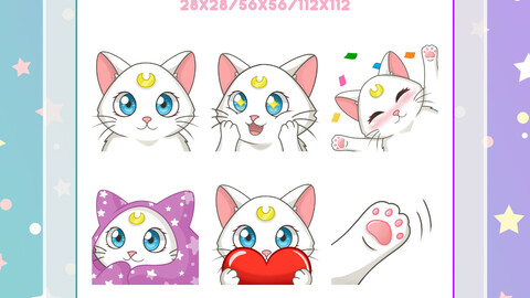 Artemis Sailor Moon emotes - Custom Twitch