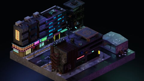 Cyberpunk Street 3 3D Model