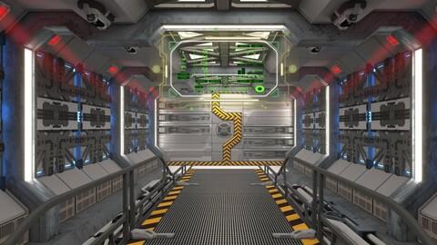 Spaceship Corridor Loop with HUD (4K)