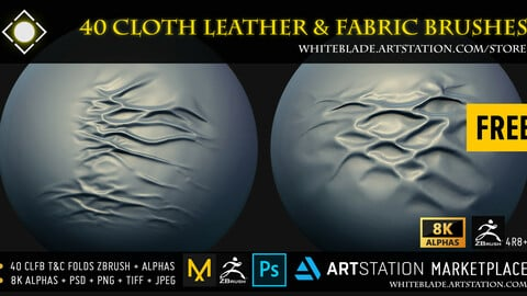 Cloth Leather & Fabric Brushes - Tension & Compression Folds + 8K Alphas - ZBrush 4R8+ FREE