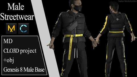Male Streetwear №4. Marvelous Designer / Clo 3D project +obj