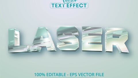 Laser text, holographic iridescent color wrinkled foil style editable text effect